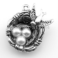 Wholesale Wholesale Eggs Silver Nest - 20pcs lot 2 color 24*19*8mm antique silver,antique bronze plated bird & egg nest charms