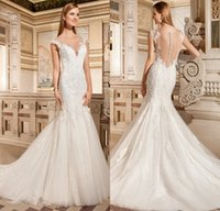 Wholesale Demetrios Mermaid Lace Wedding Dresses - Vintage Sheer Crew Mermaid Wedding Dresses Lace 2015 Court Train Covered Button Demetrios bride Dress Arabic Vestidos De Novia 2016