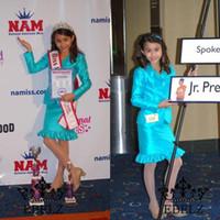 vestidos de concurso de forma gratuita al por mayor-2015 nuevo diseño de dos piezas chicas entrevista faldas trajes trajes del desfile por encargo vestidos del desfile envío gratis más tamaño