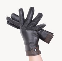 Wholesale Genuine Leather Glove - Luxury Mens Quality 100% Genuine Sheepskin Leather Winter Warm Driving Riding Gloves Full Finger Cashmere Lined