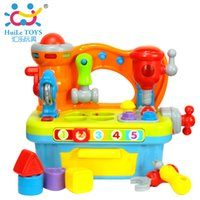 Cheap Wholesale-Break-resistant ABS music multifunctional tool sets building blocks artificial tools combination game table  boys toys
