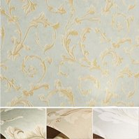 carta da parati Wallpaper Floral Scroll foglio della pianta in rilievo pastorale Wallpaper Paese naturale floreale Trail, verde, beige
