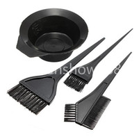 Wholesale Barber Bowl - Free Shipping 4pcs 1 Set Black Plastic Hair Dye Colouring Brush Comb Mixing Bowl Barber Salon Tint Hairdressing Styling Tools