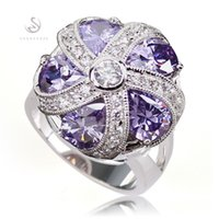 Vintage Best Sellers Descuento por tiempo limitado New Arrivals Promotion Amethyst Cubic Zirconia fashion Plateado informal RING R449 sz # 6 7 8 9