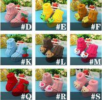 bebek patik tığ çiçek toptan satış-Bebek kız çiçek tığ ayakkabı Toddler pamuk Ayakkabı El Yapımı örgü bebek Ayakkabıları sevimli bebek ilk yürüteç ayakkabı patik 19 renkler