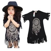 Wholesale Cartoon Beach Shorts - DHL Girl INS Princess feather tassels Dress 2016 new Children Cartoon Print Short sleeve Dress Children Clothing B001