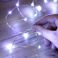 Wholesale Warm White Submersible Led Light - 2m Led Copper Wire Strings 20leds Submersible Lights Coin Battery Powered Fairy Strings for Wedding Party Christmas Halloween 8 Colors