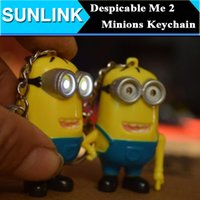 Wholesale Minions Kevin - 2015 Hot Cartoon Minion LED Light Keychain Key Chain Ring Kevin Bob Flashlight Torch Sound Toy Despicable Me Kids Christmas Promotion Gift