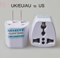 adaptadores elétricos universais venda por atacado-Alta Qualidade Carregador de Viagem AC Energia Elétrica REINO UNIDO / AU / UE Para EUA Plug Adapter Converter EUA Universal Plug Power Adaptador Conector (branco)