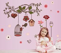 Wholesale Bird Home Nursery - Cartoon Love Birds and Nest Wall Stickers Home Decoration Removable Decorative Wall Decal for Kids Nursery Room Flower Wall Art