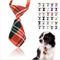 Wholesale Wholesale Handmade Dog Collars - 15% off high quality multicolor Handmade Adjustable Dog Ties Collars Pet Bow Ties Cat Neckties Dog accessories 30pcs drop shipping