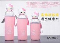 merhaba kitty tv toptan satış-(Şişe kılıfı ile) Hello Kitty cam yaratıcı çocuklar kedi kafası güzel fincan taşınabilir sızdırmaz içme suyu şişesi
