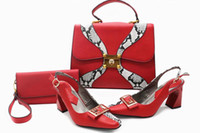 Wholesale Italian Style Shoes Women - Italian Shoes matching Bag African Style fashionable shoes and bag set high quality nigeria for wedding party
