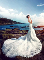 Wholesale Hot Long Tail Wedding Dresses - Emmani Shiny Beads luxury Crystal Hot Sheer Neck Sexy Bridal Ball gowns Beaded Bling Tulle Long tail Trailing wedding dresses Custom Made