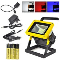 Wholesale dc led flood lights work - Portable 10W Floodlight Rechargeable 24 LED Flood Light Lamp Red White Blue Light for Outdoor Camping Work Light + Charger+3 x 18650 Battery