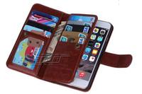 iphone mais 5.5 flip venda por atacado-Crazy Horse 9 Titular do Cartão de Crédito Photo Frame Design Carteira De Couro Virar Caso 2 Em 1 Tampa Traseira para o iphone 6 plus 4.7 5.5 Polegada de Strape de Pulso