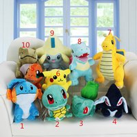 Wholesale Jirachi Toys - Poke plush toys 10 styles Mudkip Squirtle Bulbasaur Lugia Dragonite Totodile Jirachi Plush Toys Soft Dolls New Year Gift