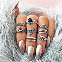 Vintage Exaggerate Midi Women Ring Set 8PCS Crown Elephant Charm Finger Anillos Apilables Antique Silver Knuckle Joyería Fina A418