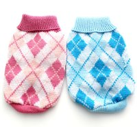 Others blue argyle sweater - Pink Blue argyle dog sweater coat Pet Jumper Clothes Jumper sizes available