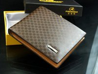 Wholesale Men Checkbook - 2015 new designer fashion style genuine+PU Leather bag brand men wallets handbag purse Money Clip Short Style