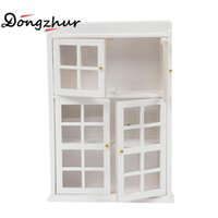 Wholesale Wooden Doll Kitchen - Wholesale- Dollhouse Miniatures 1:12 Accessories DIY Wooden Toy House Cabin Mini Furniture Model White Gate Door Cabinet Doll House Kitchen