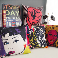 Wholesale Decorative Pop - American POP Art Cushion Cover Audrey Hepburn Retro Rock Style Cushion Covers Decorative Linen Cotton Pillow Case For Car Sofa Couch