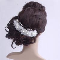 pedaços de cabelo de casamento venda por atacado-Bead Flor Acessórios Para o Cabelo Para O Casamento Com Pente Nupcial Headwear Fascinator Chapéus Frete Grátis Tiaras Cabeça Pedaço De Casamento Barato
