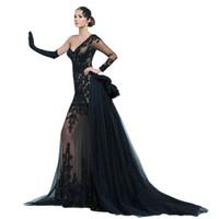Wholesale One Shoulder Lace - Black Prom Dresses 2016 One Shoulder Long Transparent Sleeve Mermaid Detachable Train Skirt Appliques Lace Beading Sparkle Evening Gowns