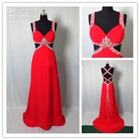 Wholesale Prom Dress Long Straps Colorful - Red Prom Dresses with Colorful Crystal Beads 2015 Sexy Spaghetti Strap Backless Long Chiffon Pageant Dress Actual Model Evening Gowns 2016