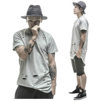 camisetas para swag al por mayor-2016 camisetas extendidas hip hop Fashion Hole Streetwear Kanye West manga corta camisetas largas ropa swag