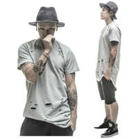 ganhos da roupa do hip-hop camiseta venda por atacado-2016 estendido camisetas hip hop Moda Buraco Streetwear Kanye West manga curta camisetas longas roupas legal ganhos