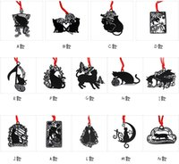 Wholesale Bookmark Baby Design - 25pcs 14 Design Stainless Steel Black Cat Bookmark Book card For Wedding Baby Shower Party Birthday Favor Gift Souvenirs