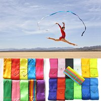 Wholesale Dance Rod - 10pcs lot 4M Gym Dance Ribbon Rhythmic Art Gymnastic Streamer Twirling Rod Stick 12 Colors free shipping