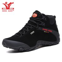 Wholesale Cow Mountain - XIANGGUAN Man Winter Cow Suede Hiking Shoes For Men High Top Waterproof Trekking Boots Sport Mountain Climbing Shoe Outdoor Walking Sneakers