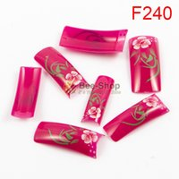 Wholesale Fake Color French Nails - 100pcs Fashion mix color flowers pattern design half cover french nail art tips acrylic half false nails art fake nail tips F240