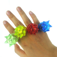 Wholesale Glow Toys Flower - 100pcs lot 3*3*4cm Soft finger ring flower fashion silicone led light up finger ring toy glowing finger ring free shipping TY650