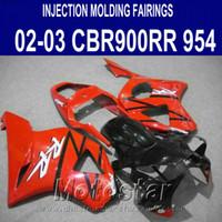 Wholesale Honda Cbr 954 Rr - Free customize fairing kit for Honda Injection molding cbr900rr fairings 954 2002 2003 CBR 900 RR red black motobike CBR954 02 03 YR39
