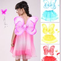 Wholesale Dress Wings Children - Hot sale#Lovely Girl Butterfly Wings Fairy Child Custome Tutu Dress Up Outfits 4 Sets New Offering Discounts