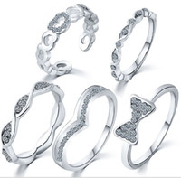 Wholesale Nail Butterfly Gold - Set Of 5 Women's Crystal Gold Silver Finger Knuckle Midi Joint Rings Infinity Heart Butterfly Nail Stacking Rings New Fashion Large Stocks