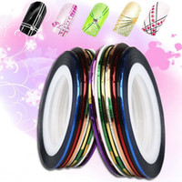 Wholesale Tape Strips For Nails - Wholesale-Fantastic 10 Roll Mix Color Metallic Nail Art Tape Lace Line Strips Striping Decoration For UV Gel Polish