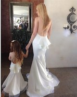Wholesale Chart Yellow Clothes - 2017 Two piece Mother girls Dress Mermaid Crew Floor Length Long Family Clothing Custom Made Special Occasion Gowns Cute Flowers Girls Dress