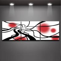 kanvas yağlıboya siyah kırmızı toptan satış-3 Parça Sanat Set Modern Soyut Siyah Çizgi Kırmızı Daire Resim Yağlıboya Tuval Baskılar Duvar Dekor Ev Ofis Cafe için