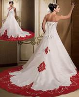 vermelho vermelho casamento vestido varredura trem venda por atacado-2016 Do Vintage Gótico Vermelho E Branco Halter Applique Vestidos De Casamento Mancha Vestir Vestido De Noiva Lace-up Voltar Vestidos de Noiva Custom Made