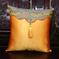 Wholesale Blue Couches - High End Ethnic Patchwork PillowCase Luxury Chinese style Natural Silk Brocade Cloth Art Tassel Cushion Cover Backrest for Seat Chair Couch