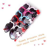 Wholesale Cute Heart Glasses - Super Cute Children's Heart-shaped sunglasses Love Sunglasses for Boys and girls child Bow decoration Glasses
