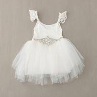 Wholesale Stitching Gauze Sleeveless - Baby girl kids sequin tutu dress sequin stitching splicing lace tulle gauze tutu sleeveless vest dress waistband belt