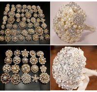 karışık gelin broşları toptan satış-Toptan-20Pcsx Gelin Düğün Altın Kaplama kristaller sahte inci broşlar karışık tasarımlar broş pimleri dekor