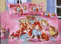 Wholesale Girls Reversible Clothes Set - Pink Winx Club Bedding Set Brand Bed Clothes Free Shipping 100% Cotton Reversible Bed Linen Comforter Sets Twin full for Girl