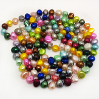 Wholesale Multicolor Cultured Pearl Necklace - 48 inches 9-10mm Multicolor Natural Cultured Nugget Baroque Pearl Handmade Knotted Sweater Long Chain Sweater Necklace