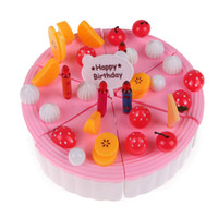 Wholesale toys tea set - Wholesale-Pretend Play Toy Cake Icecream and Tea Fruit Cutting Set in Carrying Box NVIE
